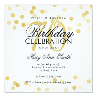 70th Birthday Party Faux Gold Foil Glitter Lights Card