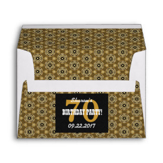 70th BIRTHDAY PARTY For Her Black and Gold Z01 Envelope