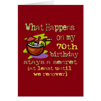 70th Birthday Party Gifts. What happens on my 70th Card