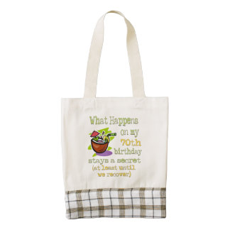 70th Birthday Party Gifts. What happens on my 70th Zazzle HEART Tote Bag