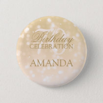 70th Birthday Party Gold Bokeh Sparkle Lights Pinback Button