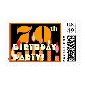 70th Birthday Party Gold Candles Stamps