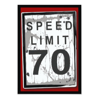 70th Birthday Party Grungy Speed Limit Sign 5x7 Paper Invitation Card