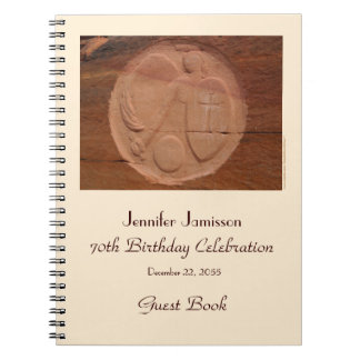 70th Birthday Party Guest Book, Angel in the Rocks Notebook