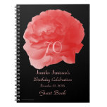 70th Birthday Party Guest Book, Coral Rose Petals Spiral Notebooks