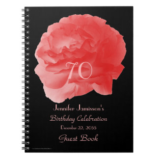 70th Birthday Party Guest Book, Coral Rose Petals Spiral Notebook