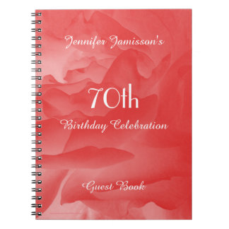 70th Birthday Party Guest Book, Coral Rose Spiral Notebook