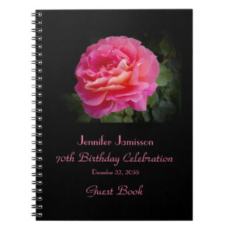 70th Birthday Party Guest Book, Pink Rose Spiral Notebook