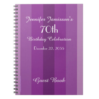 70th Birthday Party Guest Book Purple Stripe