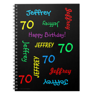 70th Birthday Party Guest Book, Repeat Name Black Spiral Notebook