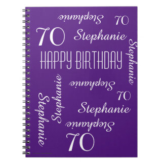 70th Birthday Party Guest Book, Repeating Names Spiral Notebook