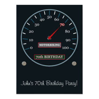 "70th Birthday Party Invitation 6.5"" X 8.75"" Invitation Card"