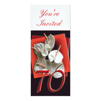 70th Birthday Party Invitation - Anthuriums