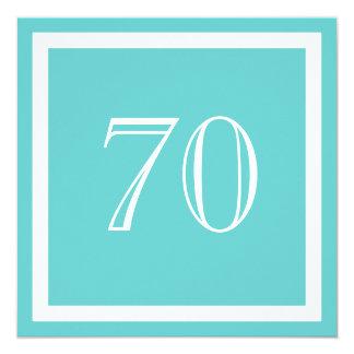 """70th Birthday Party Invitation - Aqua 5.25"""" Square Invitation Card"""