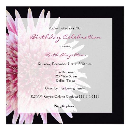 70th Birthday Party Invitation -- Gerbera Daisy