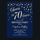 """70th Birthday Party Invitation - Gold Navy<br><div class=""""desc"""">70th Birthday Party Invitation Elegant design in faux glitter gold and navy. Cheers to 70 Years!</div>"""