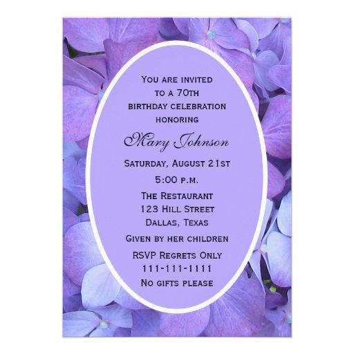 70th Birthday Party  Invitation -- Hydrangea