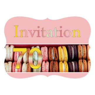 70th Birthday party invitation macaron