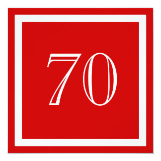 70th Birthday Party Invitation - Red