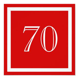 """70th Birthday Party Invitation - Red 5.25"""" Square Invitation Card"""