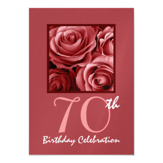 70th Birthday Party Invitation Red Roses