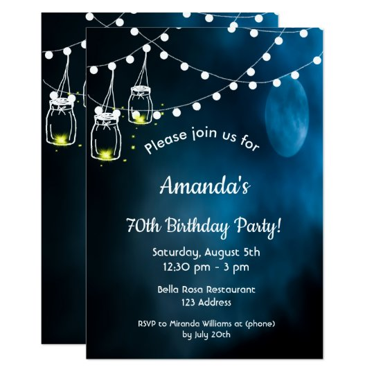 70th Birthday Party Invitation Romantic Blue Moon