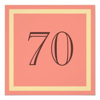"""70th Birthday Party Invitation - Salmon Coral 5.25"""" Square Invitation Card"""