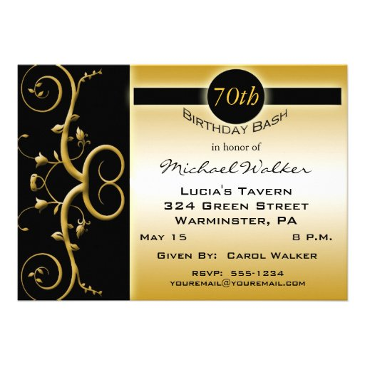 70th birthday party invitations 5 x 7 invitation card