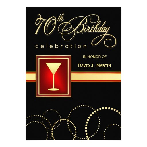 70th birthday party invitations  elegant black red zazzle