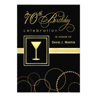 70th Birthday Party Invitations - Gold and Black