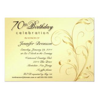 "70th Birthday Party Invitations Gold with Monogram 5"" X 7"" Invitation Card"