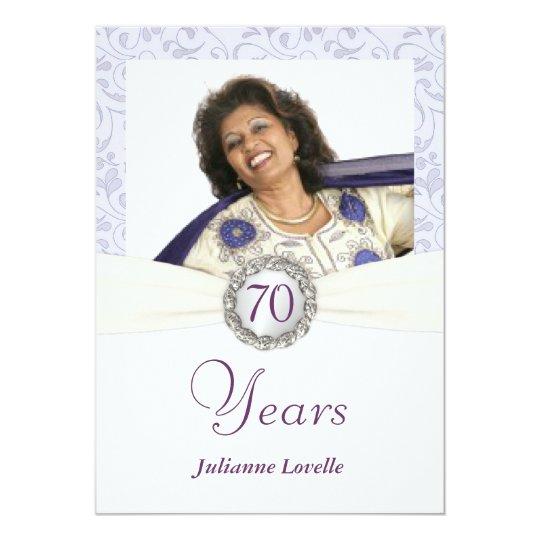 70th Birthday Party Invitations Lavender Damask