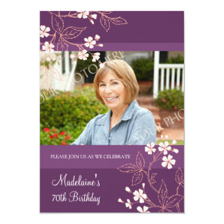 70th BIrthday Party Invitations Plum Coral Flowers