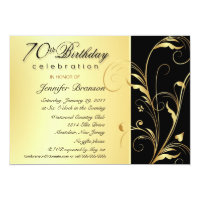 70th Birthday Party Invitations with Monogram