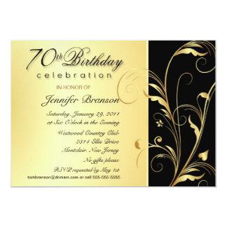 "70th Birthday Party Invitations with Monogram 5"" X 7"" Invitation Card"