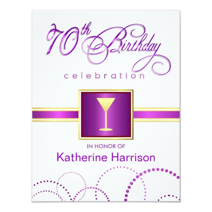 70th Birthday Party Invitations - with Monogram