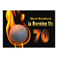 70TH BIRTHDAY PARTY INVITE - GOLF BALL BURNING