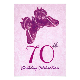 70th Birthday Party Magenta Butterfly 5x7 Paper Invitation Card