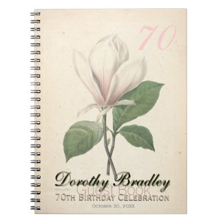 70th Birthday Party - Magnolia Custom Guest Book Note Books