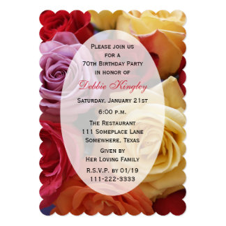 70th Birthday Party Multi Color Roses Card