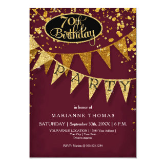 70th Birthday Party Pennant Banner Confetti Card