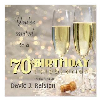"70th Birthday Party  - Personalized Invitations 5.25"" Square Invitation Card"