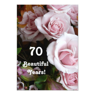 70th Birthday Party- Pink Rose Bouquet Card