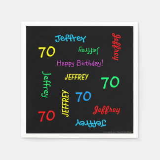 70th Birthday Party Repeating Names Black Paper Napkin
