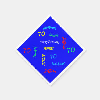 70th Birthday Party Repeating Names Blue Paper Paper Napkin