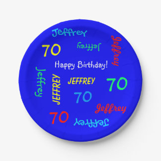 70th Birthday Party, Repeating Names Royal Blue Paper Plate