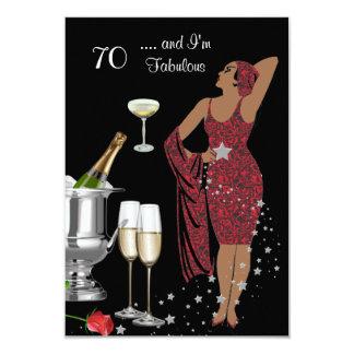 """70th Birthday Party Retro Diva Art Deco Red 2 3.5"""" X 5"""" Invitation Card"""