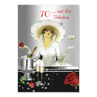 70th Birthday Party Retro Diva Art Deco Red Silver Card