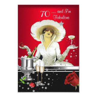 70th Birthday Party Retro Diva Art Deco Red Silver 3.5x5 Paper Invitation Card