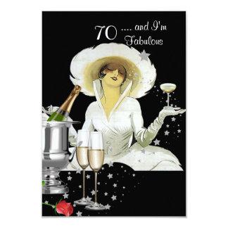 """70th Birthday Party Retro Diva Art Deco Red Silver 3.5"""" X 5"""" Invitation Card"""